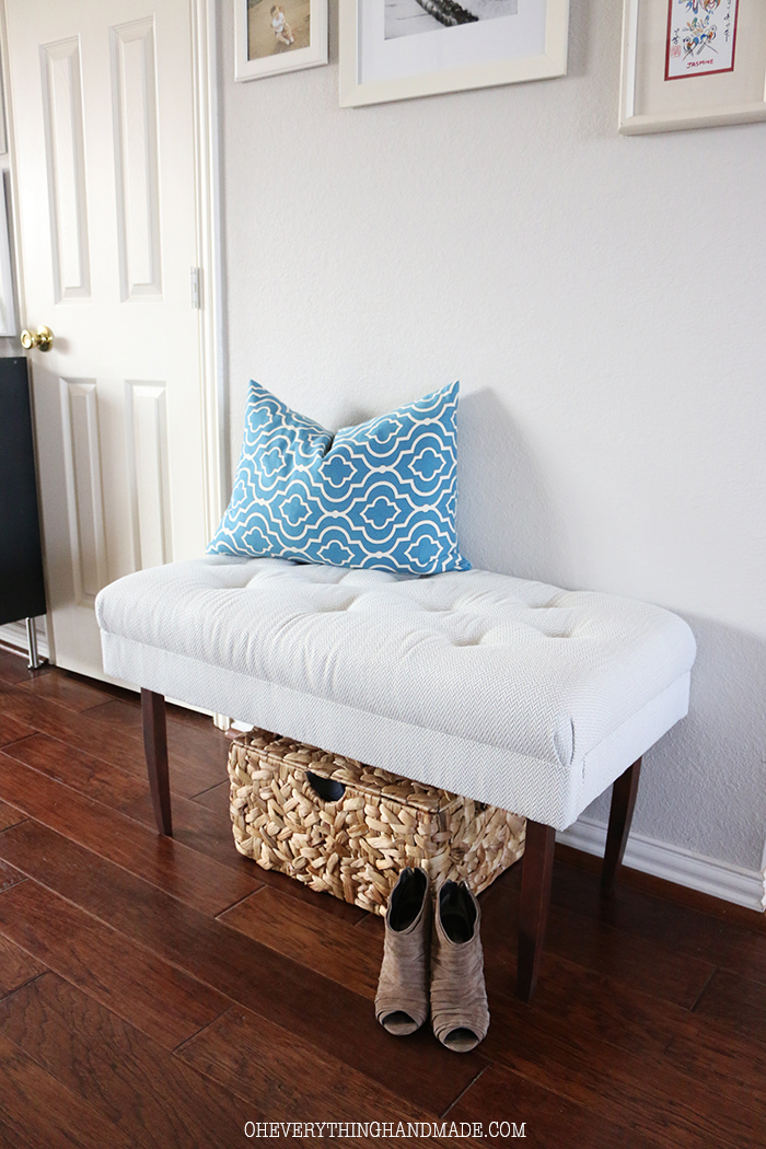 DIY old upholstered bench into a modern one on tall legs (via oheverythinghandmade.com)