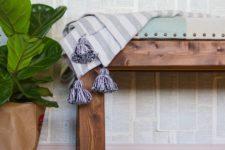 DIY modern farmhouse upholstered bench