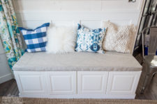 DIY upholstery storage bench of cabinets