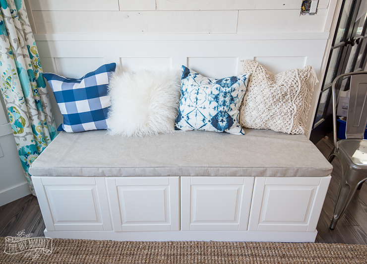 DIY upholstery storage bench of cabinets (via thediymommy.com)