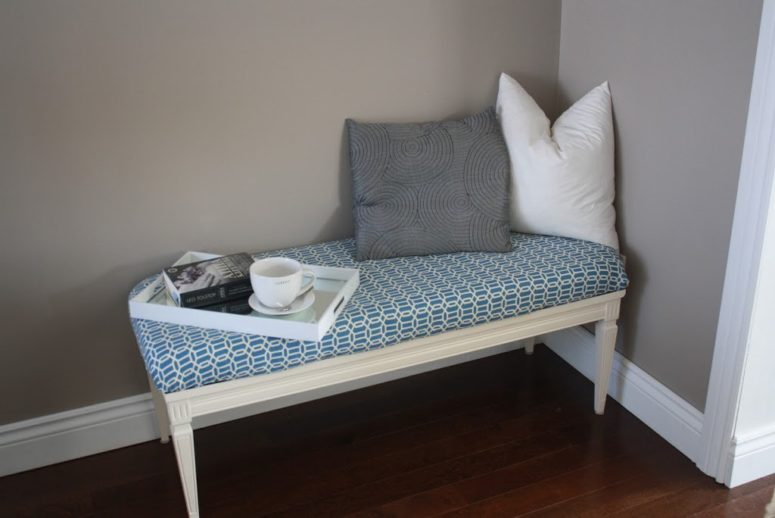 DIY upholstered entryway bench of a coffee table (via www.urbanejane.com)