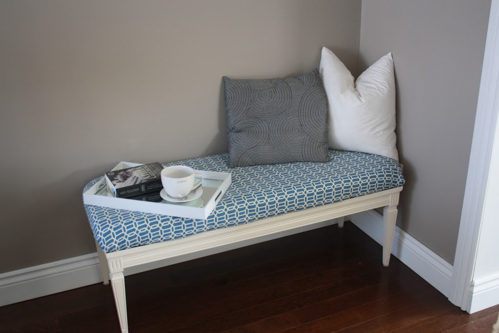 DIY upholstered entryway bench of a coffee table