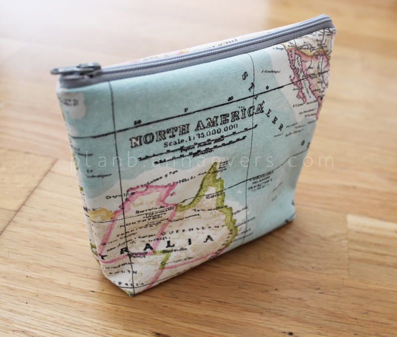DIY map printed makeup pouch