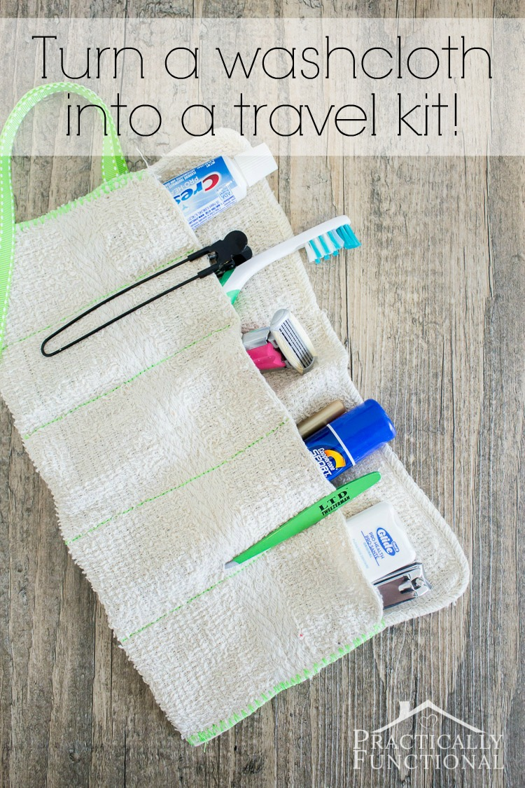 DIY washcloth travel kit for toothbrushes (via www.practicallyfunctional.com)