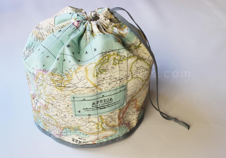DIY map printed toiletry bag