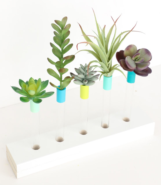 DIY test tube bud vases with a stand (via akailochiclife.com)