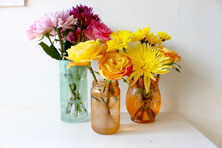 DIY colorful etched glass vases (via weregoingtomakeit.com)