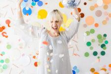 DIY giant glitter polka dot backdrop