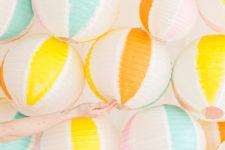 DIY beach ball backdrop of paper lanterns