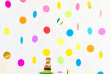 DIY floating colorful confetti backdrop