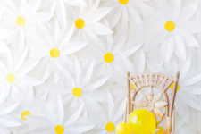 DIY paper daisy backdrop