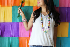 DIY colorful paper fringe backdrop