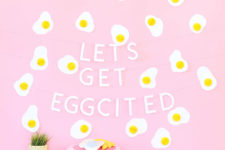 DIY fried egg Easter brunch backdrop