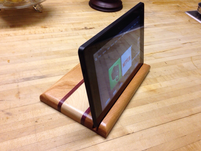 DIY striped wooden tablet stand of various kinds of wood