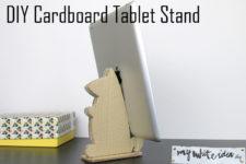 DIY cardboard animal-shaped tablet stand