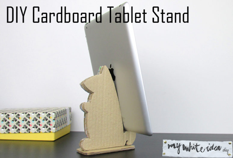 DIY cardboard animal-shaped tablet stand (via www.mywhiteideadiy.com.es)