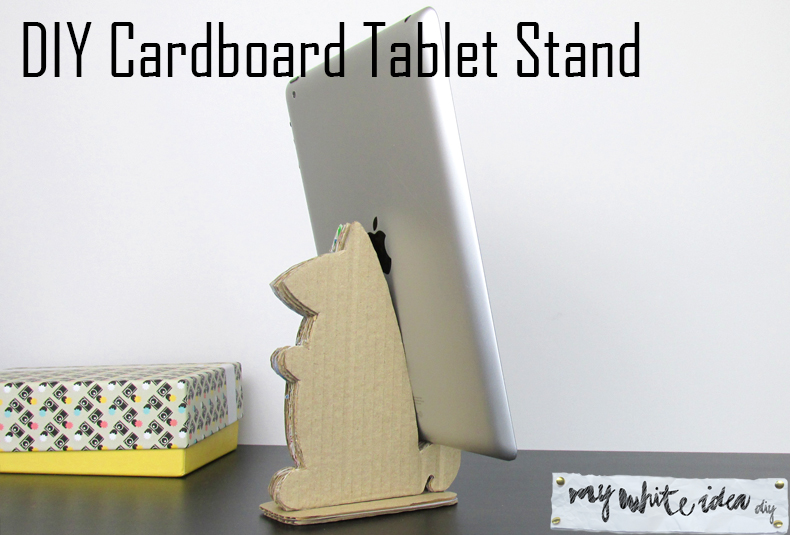 DIY cardboard animal shaped tablet stand