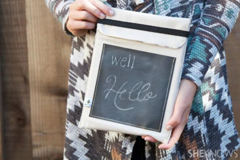DIY felt case with a chalk part (via www.sheknows.com)