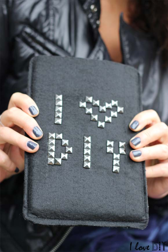 DIY black felt case with studs (via ilovedoityourself.com)