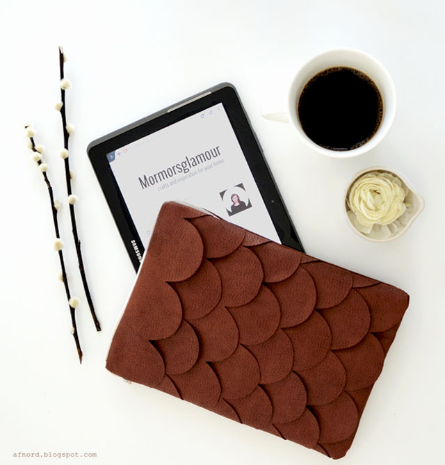DIY brown leather scallop tablet case (via blogg.skonahem.com)