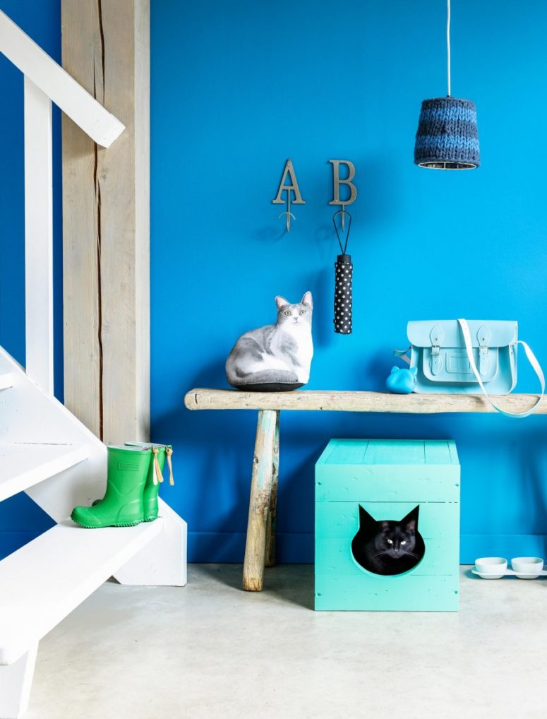 DIY turquoise cat litter box with a cat head cutout (via www.vtwonen.nl)