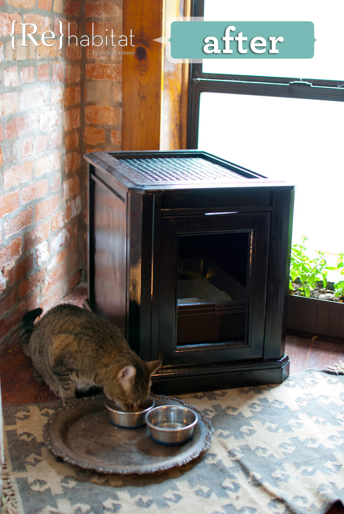 stylish DIY black cat litter box cabinet (via buildipedia.com)