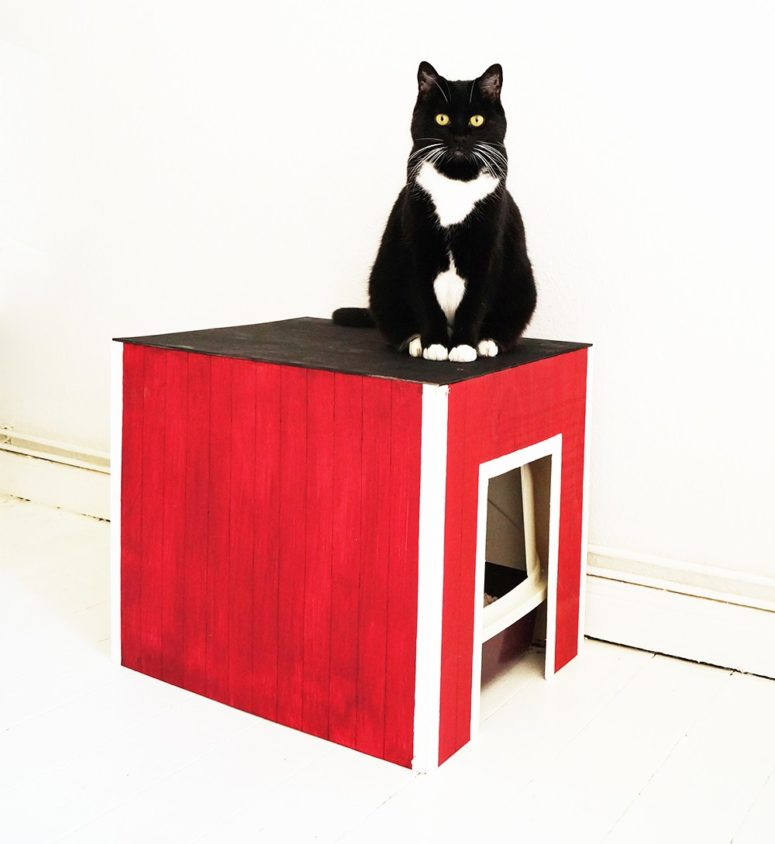 DIY red, black and white cat litter box cover (via nur-noch.com)