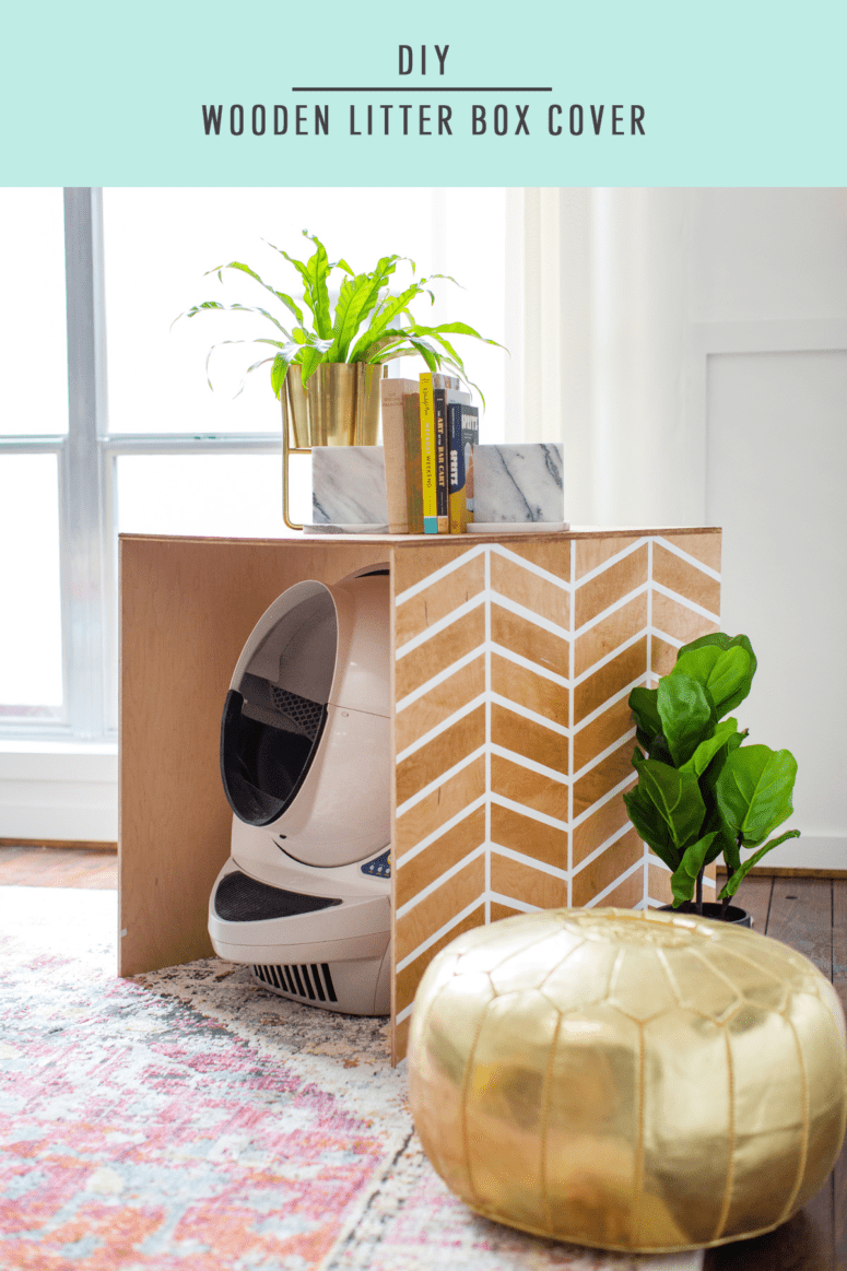 DIY plywood chevron cat litter box cover (via sugarandcloth.com)