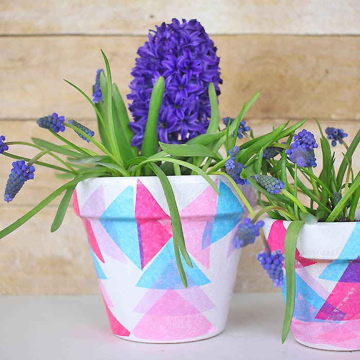 DIY colorful geometric decoupage pots (via gina-michele.com)