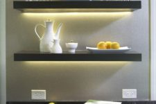 02 create a stylish home bar using lit up IKEA Lack shelves in black – looks very chic