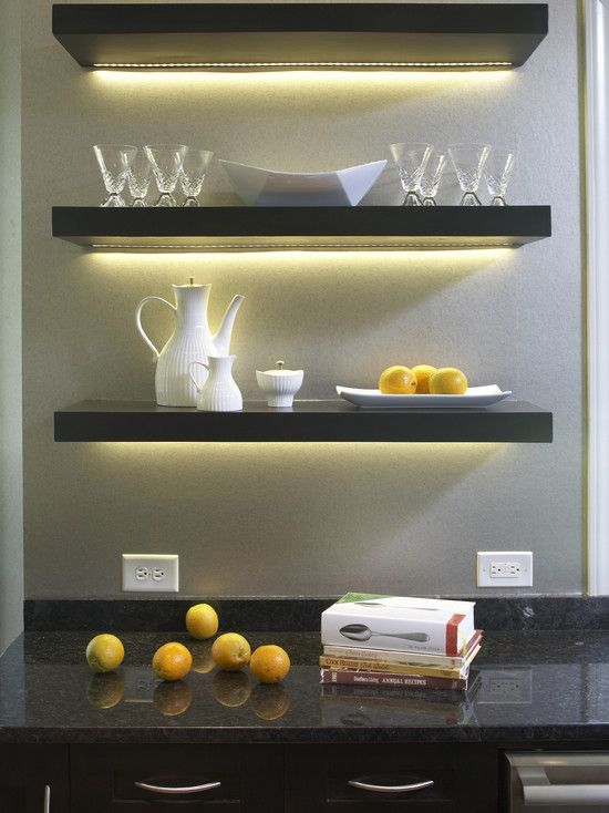 create a stylish home bar using lit up IKEA Lack shelves in black - looks very chic