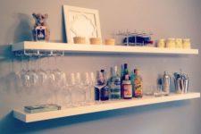 03 a simple floating home bar made of IKEA Lack shelves