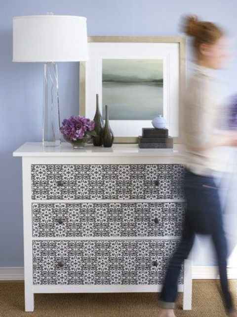 spruce up your Hemnes dresser with printed wallpaper or adhesive paper of your choice
