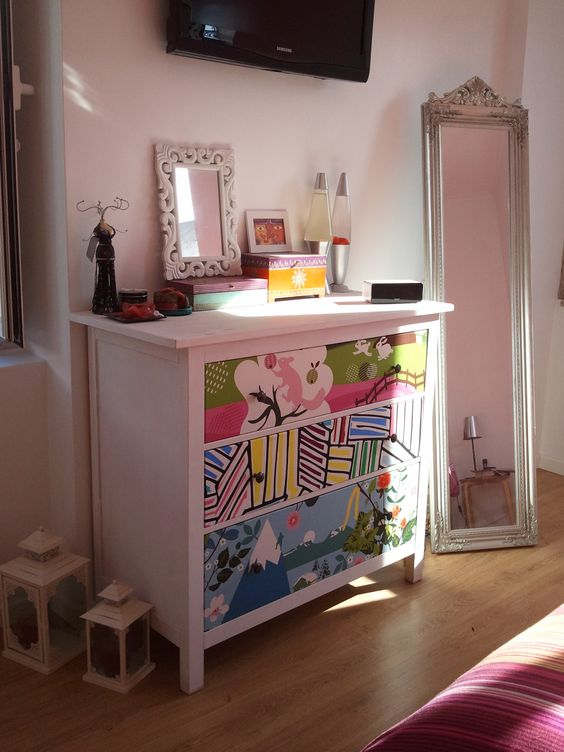 IKEA Hemnes redone with colorful adhesive paper for a bright and cheerful kids' room