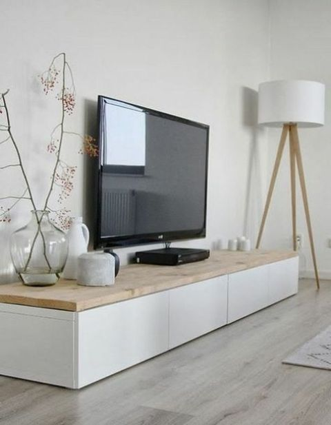 spruce up your IKEA Besta unit with a sleek light colored wooden top for a modern look