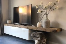 05 make your floating IKEA Besta TV unit original with a thick raw edge countertop