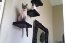 07 black IKEA Lack shelves attached to the wall wil excite your cats, it's a simple tree idea