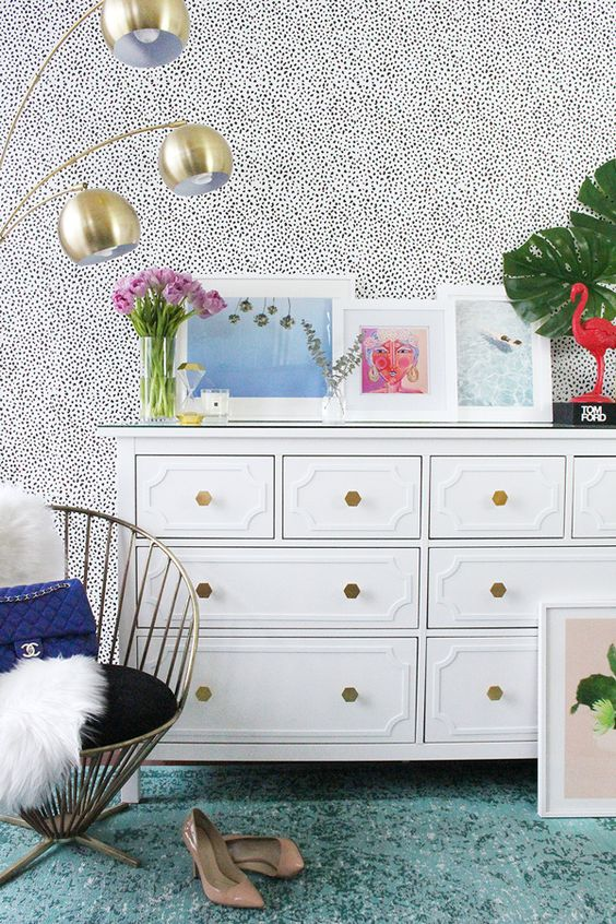 a chic Hemnes dresser with white inlays and gold geometric knobs for a glam space
