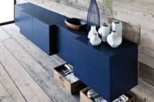 11 a bold and creative navy IKEA Besta floating credenza or buffet is a chic contemporary piece