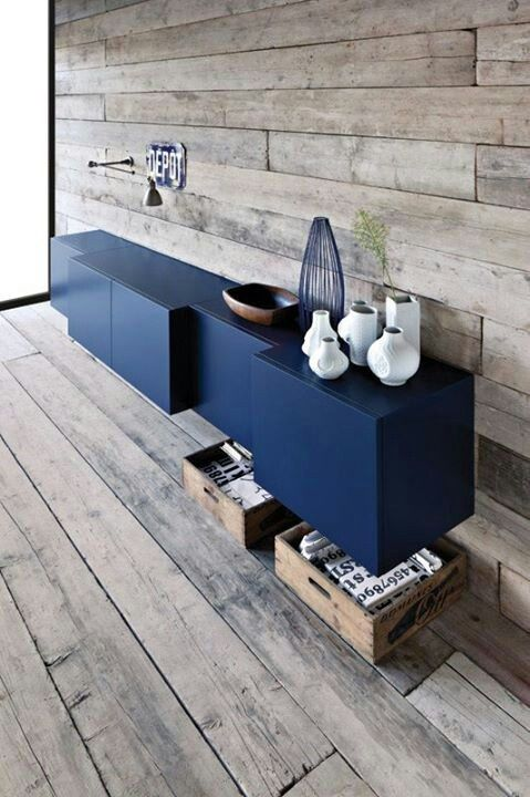 a bold and creative navy IKEA Besta floating credenza or buffet is a chic contemporary piece