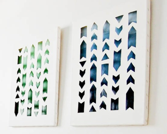 DIY cutout ombre arrow canvas artworks (via www.diypassion.com)