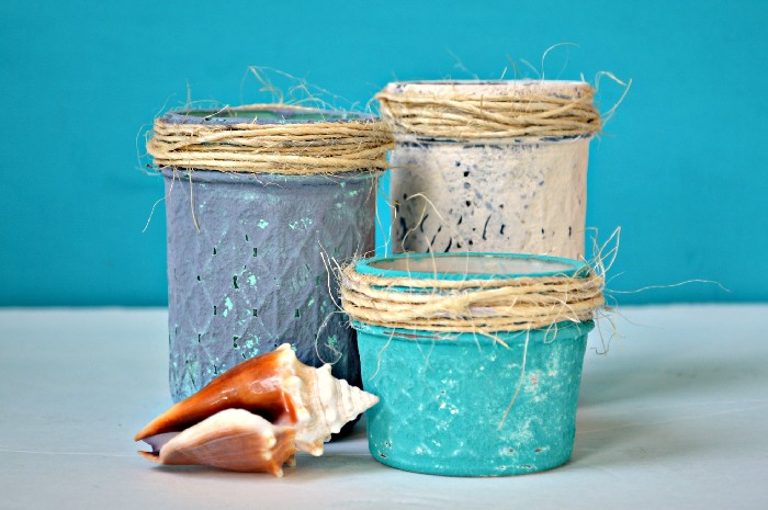 DIY mason jars with textural coastal paints (via madincrafts.com)
