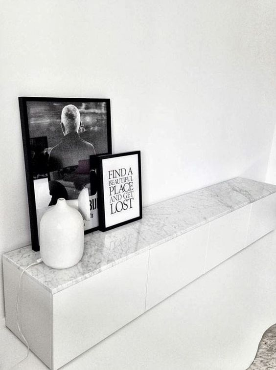 IKEA Besta unit updated with marble adhesive paper for a chic touch and a refined look