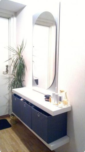 build a floating vanity for an entryway using two Lack shelves and some boxes for storage