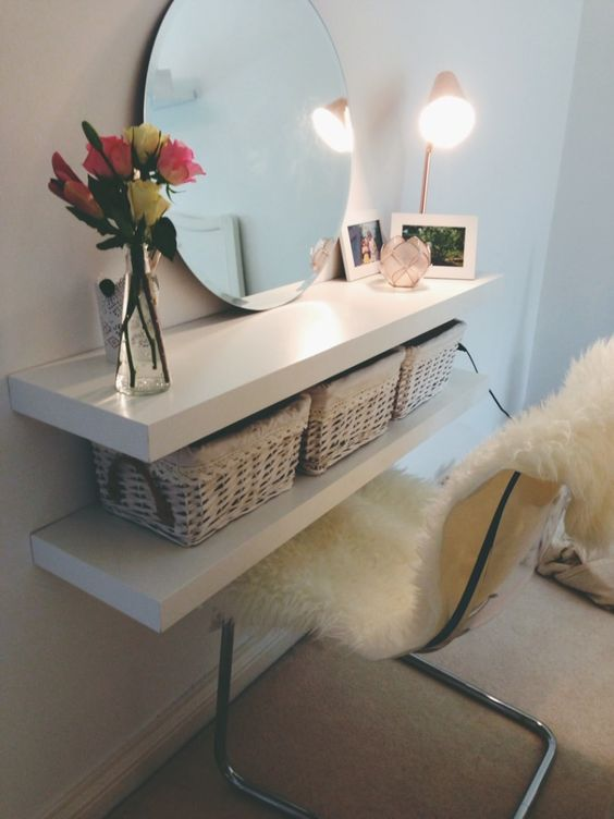 IKEA Lack shelves turned into a narrow floating vanity with baskets for storage - ideal for a small space