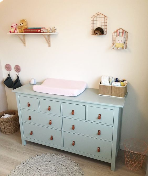 a Hemnes piece paitned mint and with leather pulls for a cute changing table