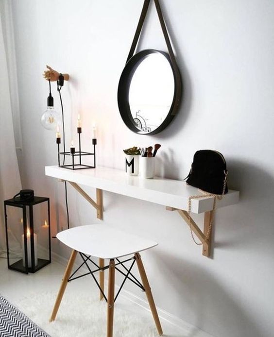 IKEA Lack shelf turned into a comfy Scandinavian wall-mounted vanity is a chic solution