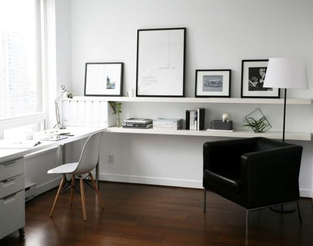 create a comfy storage space and a floating desk of IKEA Lack shelves