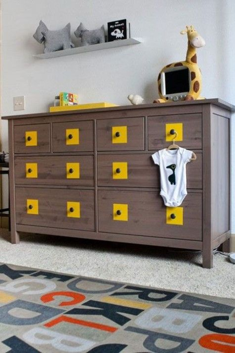 add a quirky touch to your Hemnes dresser with bright yellow touches and black knobs as a storage solution for a boy's space