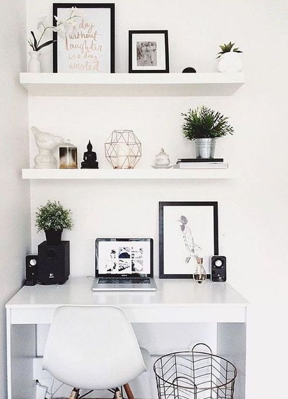 a small working space done with a white desk and with white Lack shelves over the desk